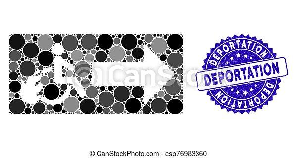 grunge, sortie, icône, mosaïque, patient, deportation, cachet - csp76983360