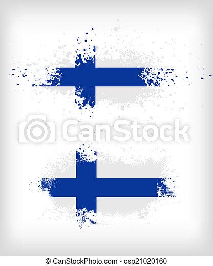grunge, splattered, vlag, inkt, fins - csp21020160