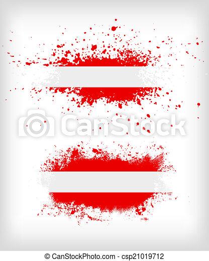 grunge, splattered, vlag, oostenrijks, inkt - csp21019712