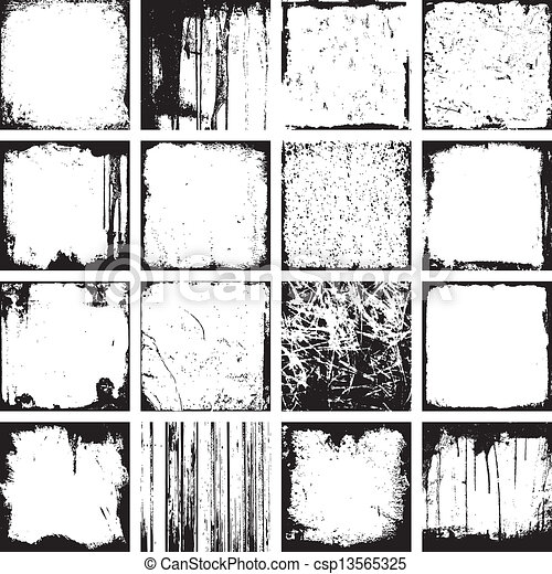 Grunge Square Backgrounds Vector - csp13565325