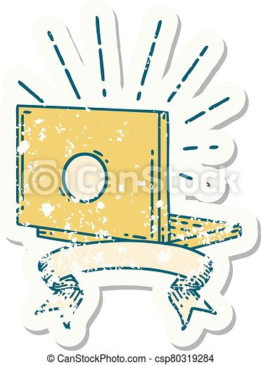 grunge sticker of tattoo style laptop computer - csp80319284