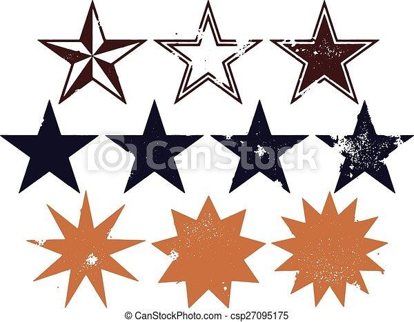 grunge, stile, stella, progetta - csp27095175