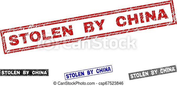 Grunge STOLEN BY CHINA Scratched Rectangle Stamps - csp67523846