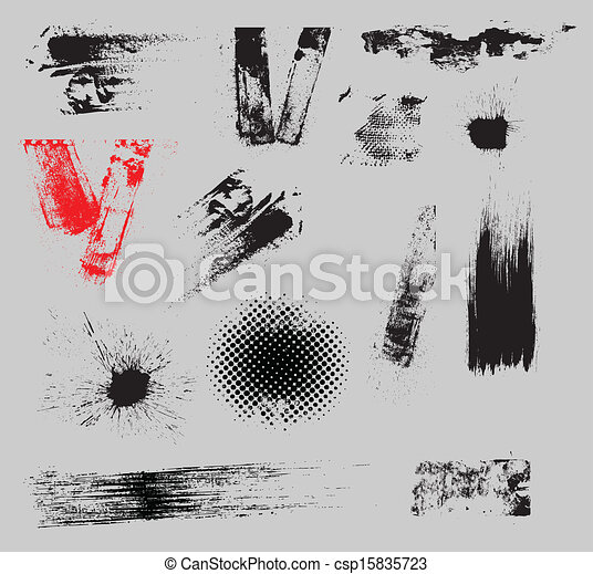 Grunge Strokes and Overlay Vector - csp15835723