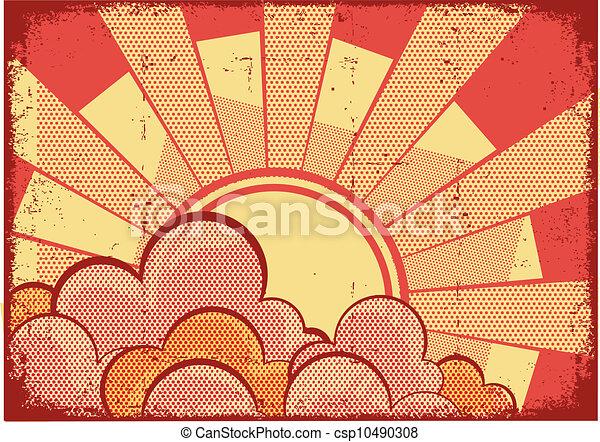 grunge, struktura, tło, kartony, światło słoneczne - csp10490308