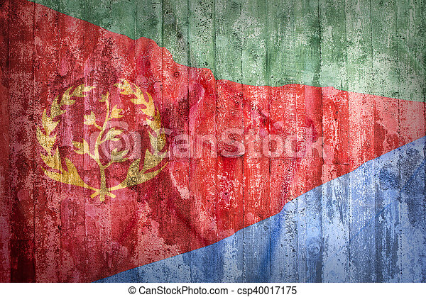 Grunge style of Eritrea flag on a brick wall - csp40017175