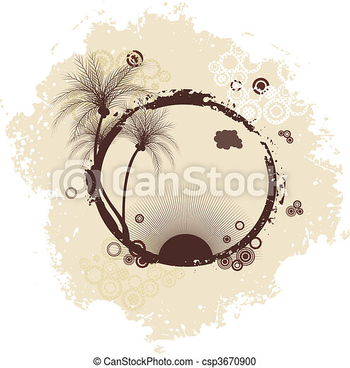 Grunge summer frame with palms - csp3670900