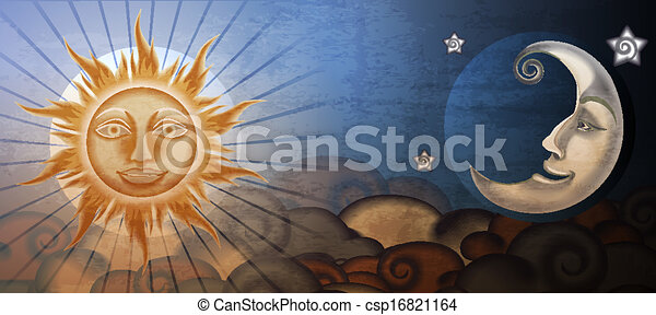 Grunge sun and moon in front of clouds. Fresco imitation. - csp16821164