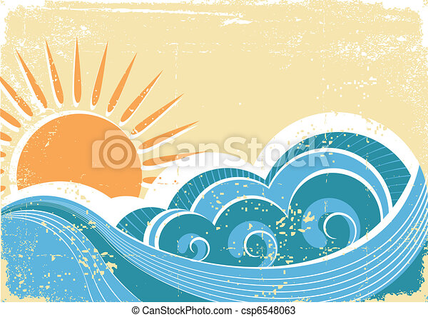 grunge, szüret, ábra, vektor, waves., tenger, táj - csp6548063
