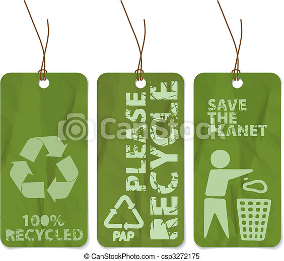 grunge tags for recycling - csp3272175
