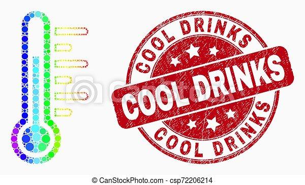 grunge, température, pointillé, timbre, clair, vecteur, icône, frais, boissons - csp72206214