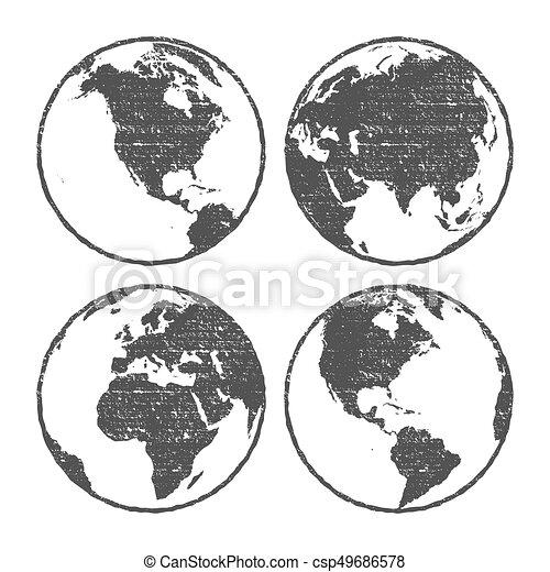 Grunge texture gray world map globe set transparent vector grunge texture gray world map globe set transparent vector illustration gumiabroncs Choice Image
