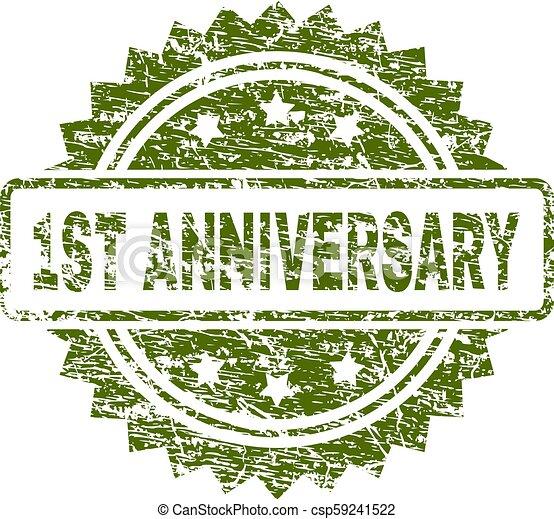 Grunge Textured 1ST ANNIVERSARY Stamp Seal - csp59241522
