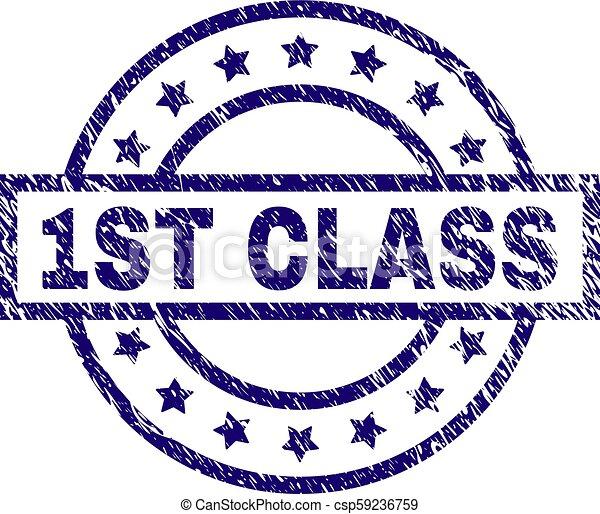 Grunge Textured 1ST CLASS Stamp Seal - csp59236759