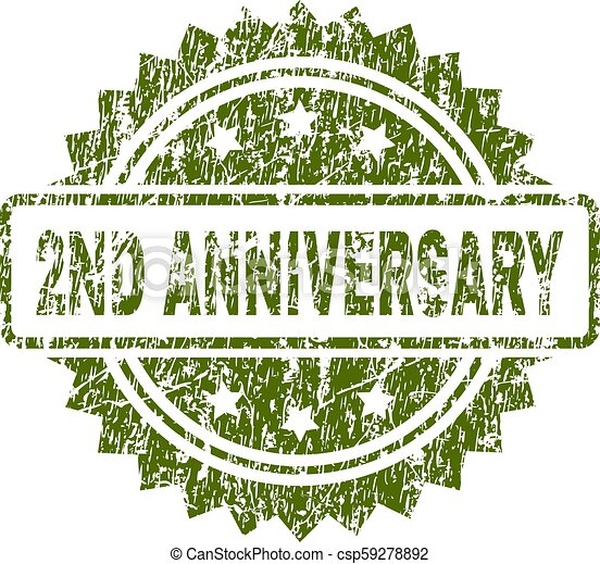 Grunge Textured 2ND ANNIVERSARY Stamp Seal - csp59278892
