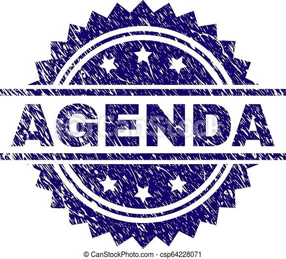 Grunge Textured AGENDA Stamp Seal - csp64228071