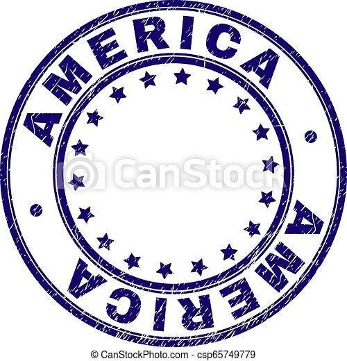 Grunge Textured AMERICA Round Stamp Seal - csp65749779