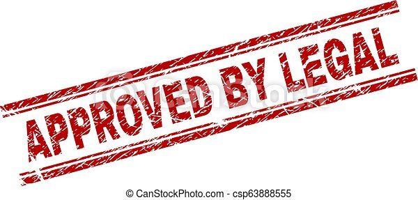 Grunge Textured APPROVED BY LEGAL Stamp Seal - csp63888555