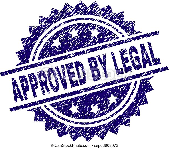 Grunge Textured APPROVED BY LEGAL Stamp Seal - csp63903073