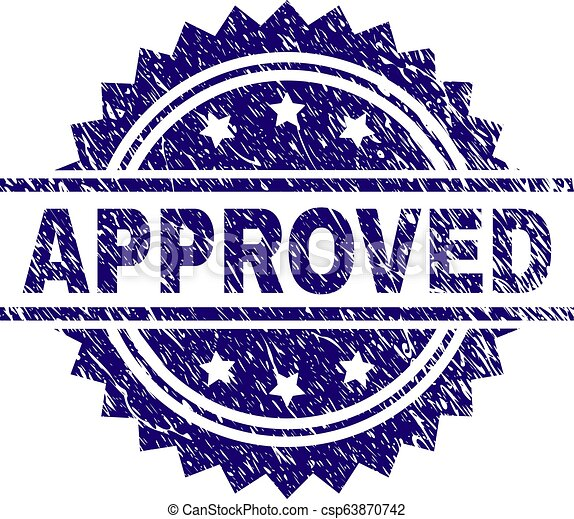 Grunge Textured APPROVED Stamp Seal - csp63870742