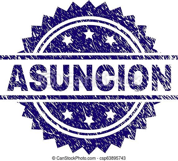 Grunge Textured ASUNCION Stamp Seal - csp63895743