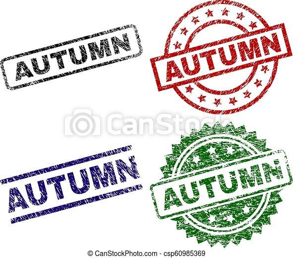Grunge Textured AUTUMN Seal Stamps - csp60985369