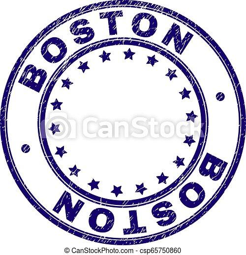 Grunge Textured BOSTON Round Stamp Seal - csp65750860