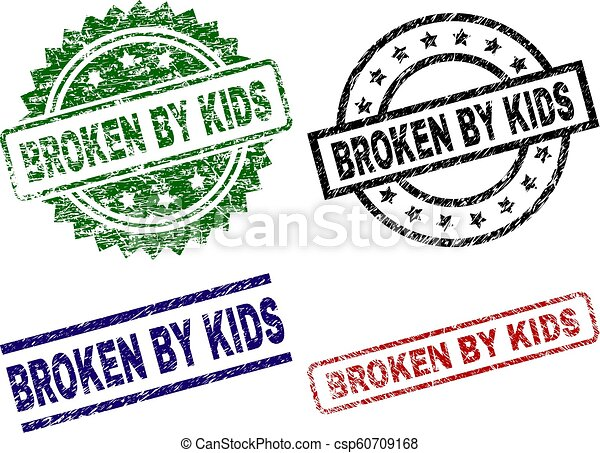 Grunge Textured BROKEN BY KIDS Stamp Seals - csp60709168