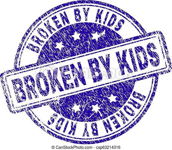 Grunge Textured BROKEN BY KIDS Stamp Seal - csp63214316