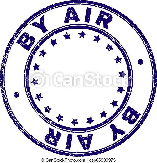 Grunge Textured BY AIR Round Stamp Seal - csp65999975