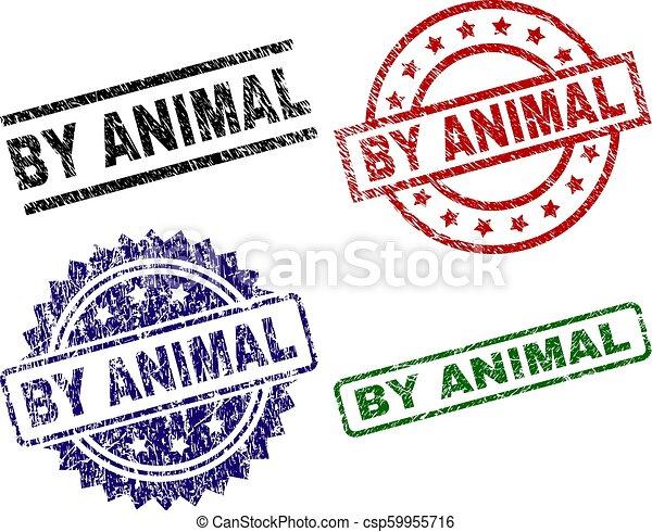 Grunge Textured BY ANIMAL Seal Stamps - csp59955716