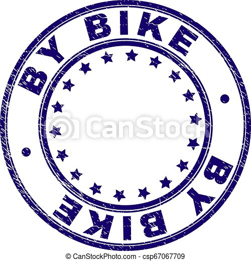 Grunge Textured BY BIKE Round Stamp Seal - csp67067709
