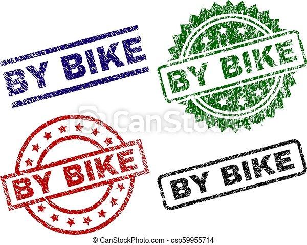 Grunge Textured BY BIKE Seal Stamps - csp59955714