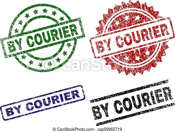 Grunge Textured BY COURIER Stamp Seals - csp59955719