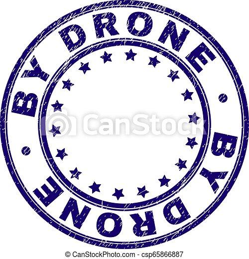 Grunge Textured BY DRONE Round Stamp Seal - csp65866887