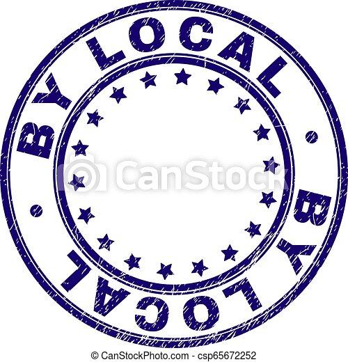 Grunge Textured BY LOCAL Round Stamp Seal - csp65672252