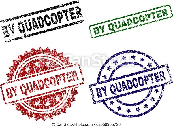 Grunge Textured BY QUADCOPTER Seal Stamps - csp59955720