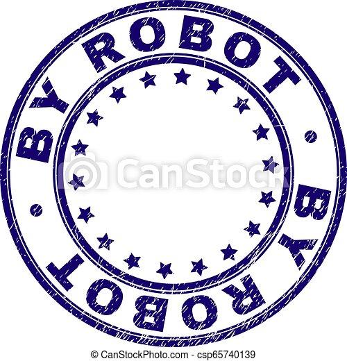 Grunge Textured BY ROBOT Round Stamp Seal - csp65740139