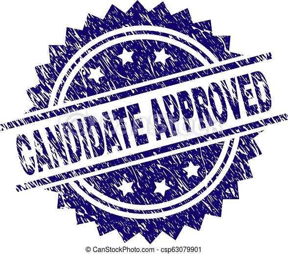 Grunge Textured CANDIDATE APPROVED Stamp Seal - csp63079901