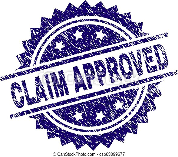 Grunge Textured CLAIM APPROVED Stamp Seal - csp63099677