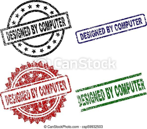 Grunge Textured DESIGNED BY COMPUTER Stamp Seals - csp59932503
