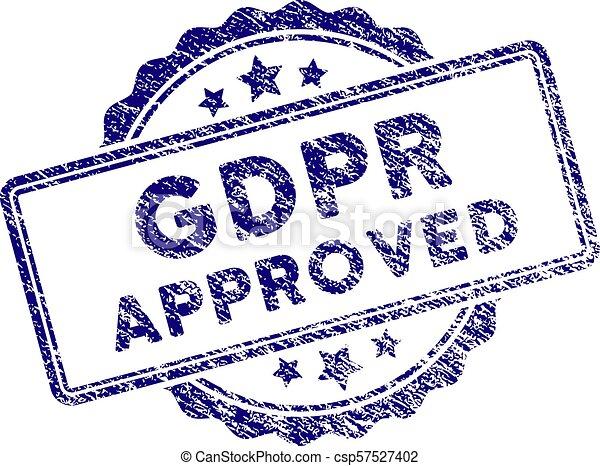 Grunge Textured GDPr Approved Stamp Seal - csp57527402