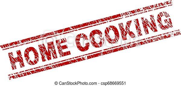Grunge Textured HOME COOKING Stamp Seal - csp68669551