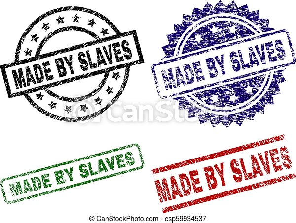Grunge Textured MADE BY SLAVES Seal Stamps - csp59934537