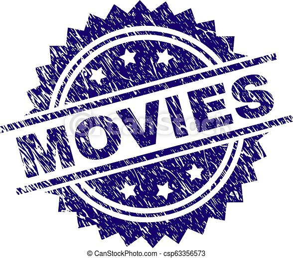 Grunge Textured MOVIES Stamp Seal - csp63356573