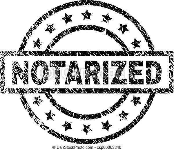 Grunge Textured NOTARIZED Stamp Seal - csp66063348