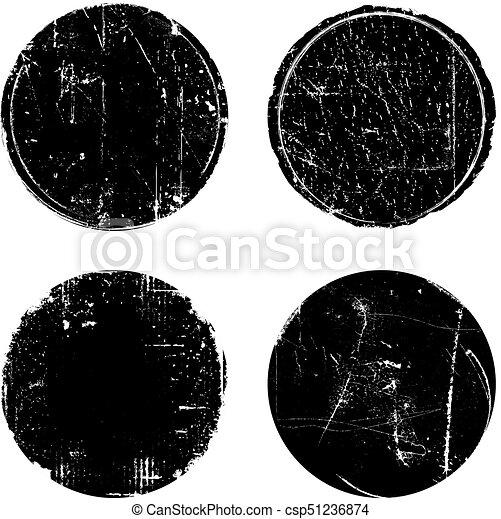 Grunge Textured Round Seal Stamps - csp51236874