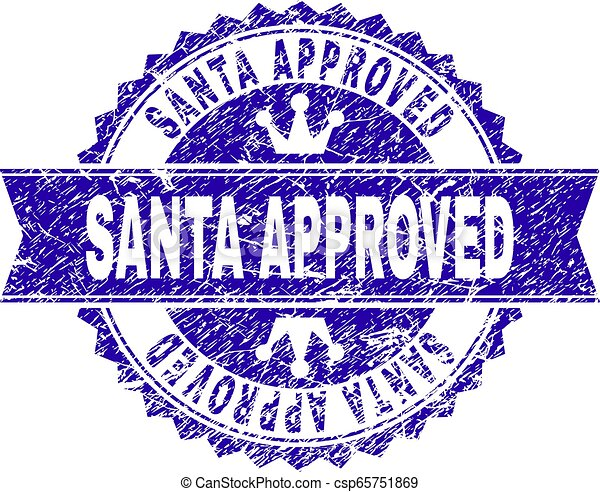 Grunge Textured SANTA APPROVED Stamp Seal with Ribbon - csp65751869