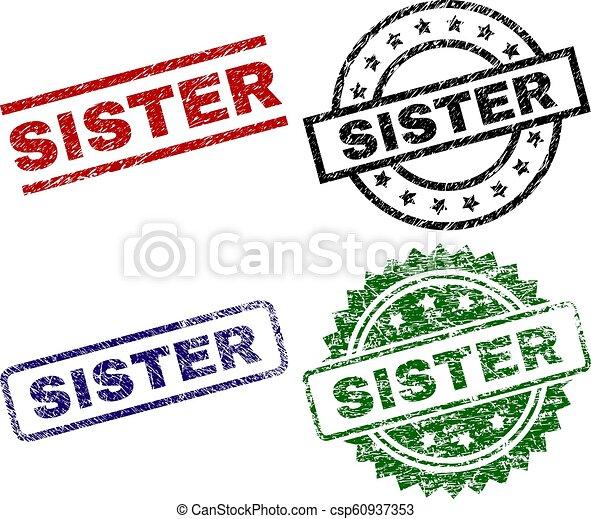 Grunge Textured SISTER Seal Stamps - csp60937353