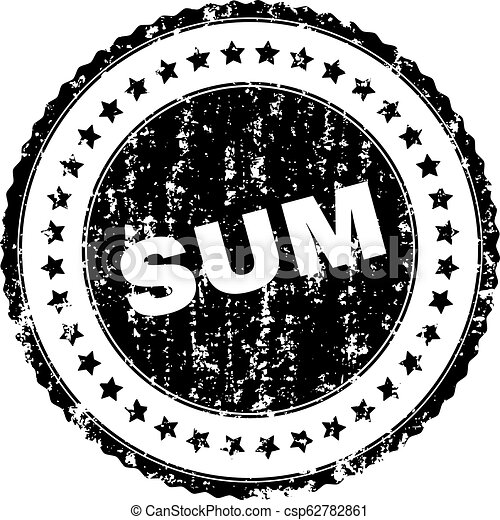 Grunge Textured SUM Stamp Seal - csp62782861